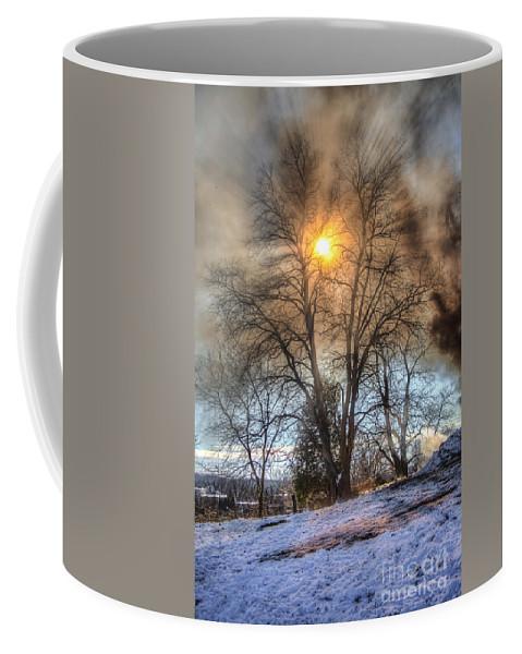 Fire Coffee Mug featuring the photograph Sun Thru Smoke by Andrew Slater