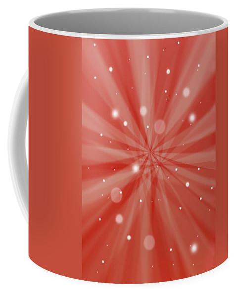 Christmas Coffee Mug featuring the digital art Sunburst Snow Red by Steve Ball