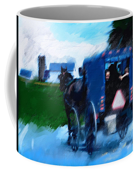 Horse Art Paintings Coffee Mug featuring the painting Sunday Buggy Ride by Ted Azriel