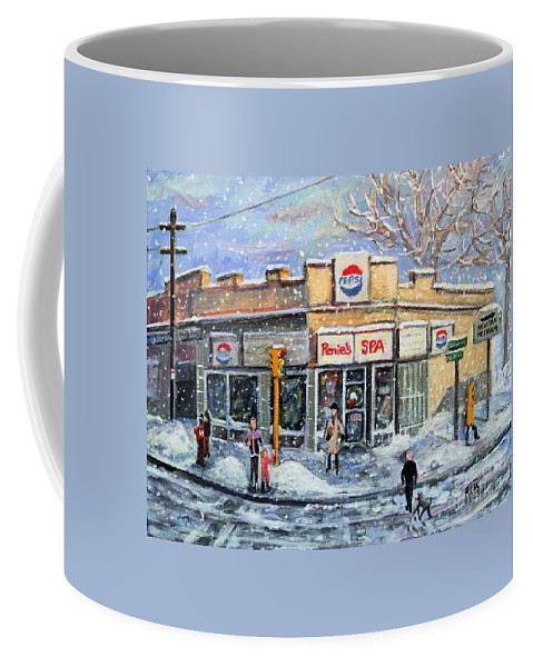 Girl Coffee Mug featuring the painting Sunday Morning At Renie's Spa by Rita Brown