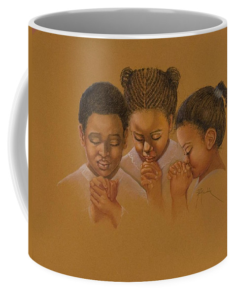 Three Little Black Children Praying In Sunday School Gold Background Painting Colored Pencil Gold Background One Little Boy And Two Girls African American Children Coffee Mug featuring the pastel Sunday School by Pamela Mccabe