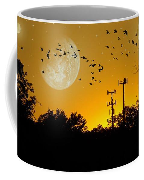 2d Coffee Mug featuring the photograph Sundown Fantasy Orange by Brian Wallace