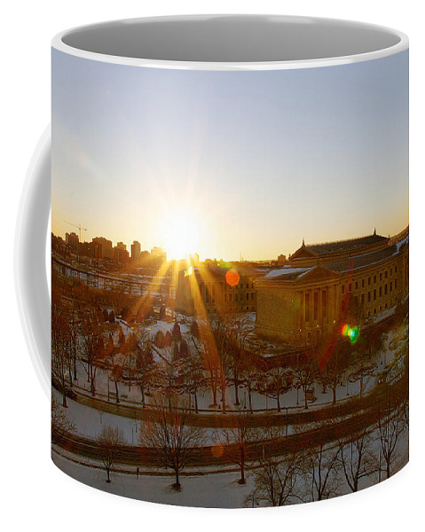 Philadelphia Art Museum Coffee Mug featuring the photograph Sunflare At The Museum by Alice Gipson