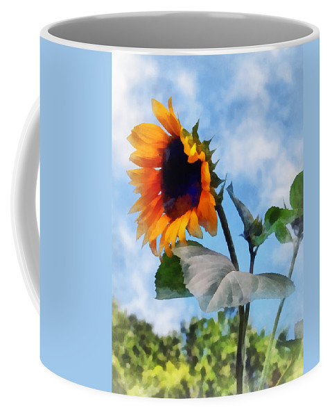 Sunflower Coffee Mug featuring the photograph Sunflower Against The Sky by Susan Savad