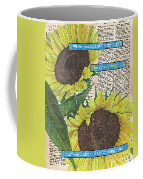 Floral Coffee Mug featuring the painting Sunflower Dictionary 2 by Debbie DeWitt