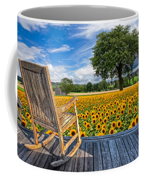 Austria Coffee Mug featuring the photograph Sunflower Farm by Debra and Dave Vanderlaan