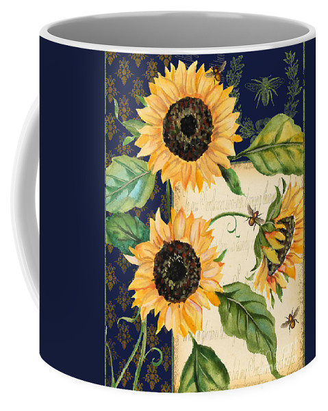 Watercolor Coffee Mug featuring the painting Sunflower Melody-a by Jean Plout