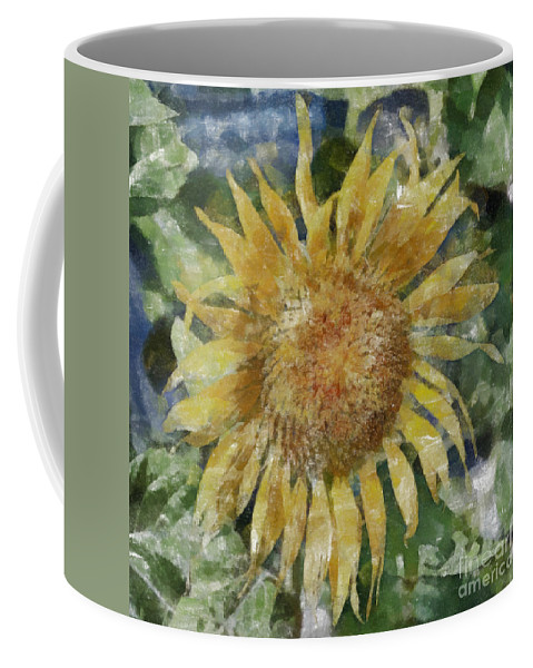 Flower Coffee Mug featuring the painting Sunflower Painting by Antony McAulay