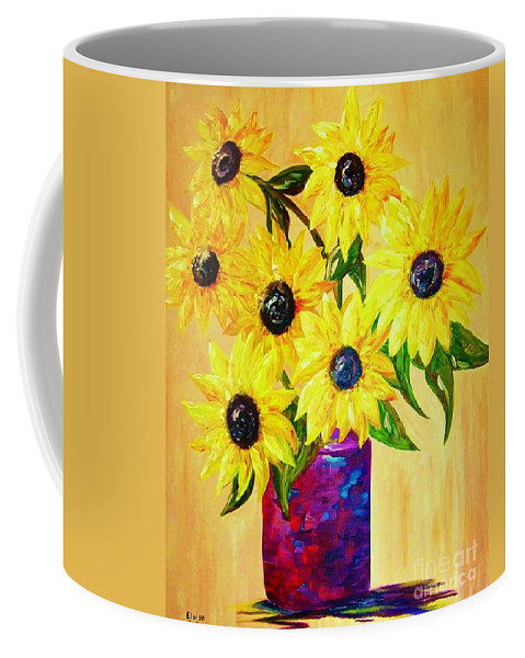 Sunflower Coffee Mug featuring the painting Sunflowers In A Red Pot by Eloise Schneider Mote
