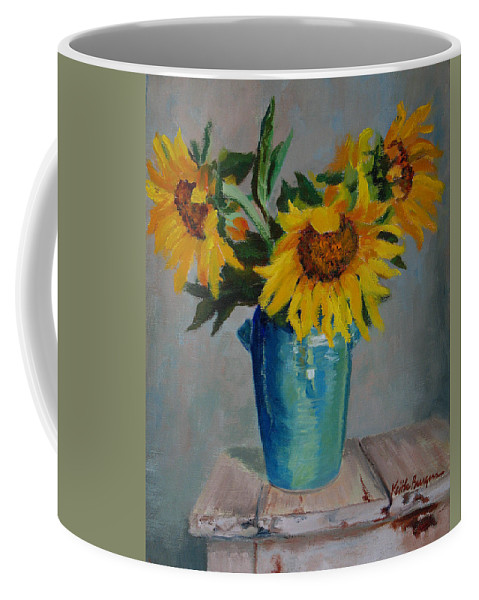 Impressionism Coffee Mug featuring the painting Sunflowers In Blue Vase by Keith Burgess