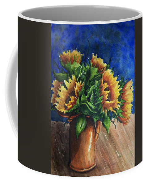 Sunflowers Coffee Mug featuring the painting Sunflowers In Copper by Conni Reinecke