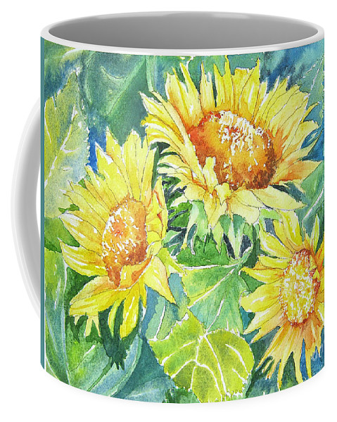 Coffee Mug featuring the painting Sunflowers by Linda Haile