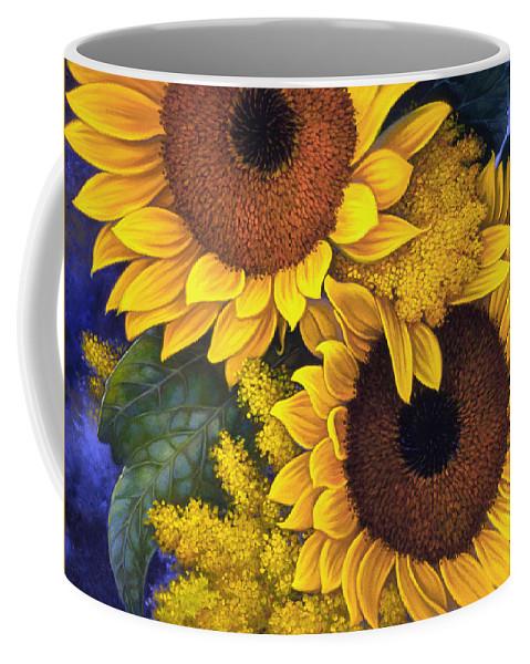 Botanical Coffee Mug featuring the painting Sunflowers by Mia Tavonatti