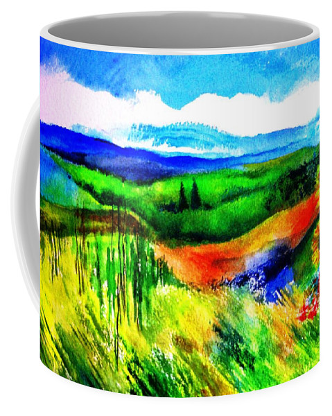 Landscape Coffee Mug featuring the painting Sunflowers Near Greve by Kandy Cross