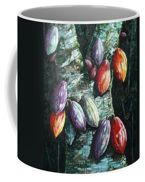 Caribbean Paintings Cocoa Fruit Paintings Tree Paintings Cocoa Paintings Chocolate Tree Paintings  Fruit Pods Paintings  Tropical Paintings Greeting Card Paintings Canvas Prints Paintings Poster Print Paintings  Coffee Mug featuring the painting Sunlight And Chocolate by Karin Dawn Kelshall- Best