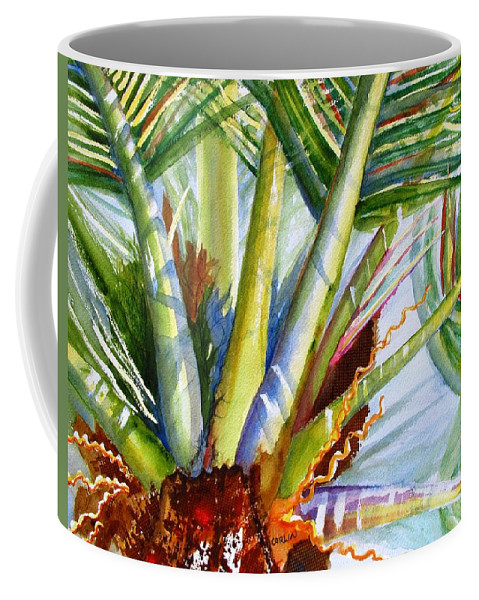 Coconut Palm Fronds Coffee Mug featuring the painting Sunlit Palm Fronds by Carlin Blahnik CarlinArtWatercolor