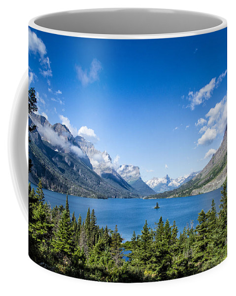 Glacier Coffee Mug featuring the photograph Sunny Saint Mary Lake by Timothy Hacker