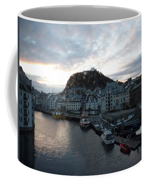 Coffee Mug featuring the photograph Sunrise Above Aalesund by Katerina Naumenko