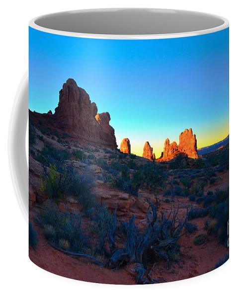 Sunrise Coffee Mug featuring the photograph Sunrise At Arches National Park by Tara Turner