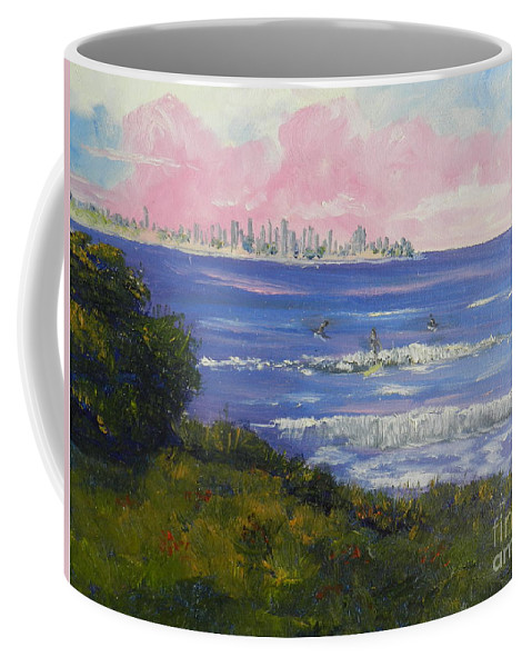 Impressionism Coffee Mug featuring the painting Sunrise At Burliegh Heads by Pamela Meredith