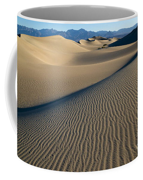 Southwest Coffee Mug featuring the photograph Sunrise At Mesquite Flat Sand Dunes by Sandra Bronstein