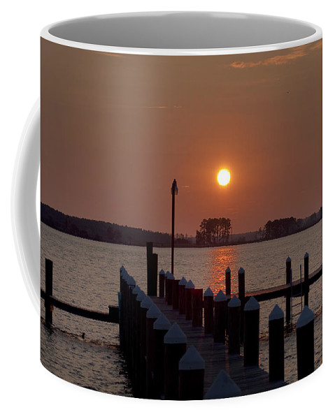 Sunrise Coffee Mug featuring the photograph Sunrise At Piney Point Maryland by Bill Cannon
