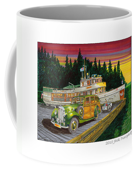 Image Of 1934 Bentley Shooting Brake On The Dock At The Seattle Yacht Club Port Madison Out Station Coffee Mug featuring the painting Port Madison Sunrise by Jack Pumphrey