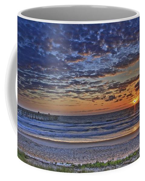 Sunrise Beach Flagler Florida Ocean Waves Pier Coffee Mug featuring the photograph Sunrise At The Beach by Alice Gipson