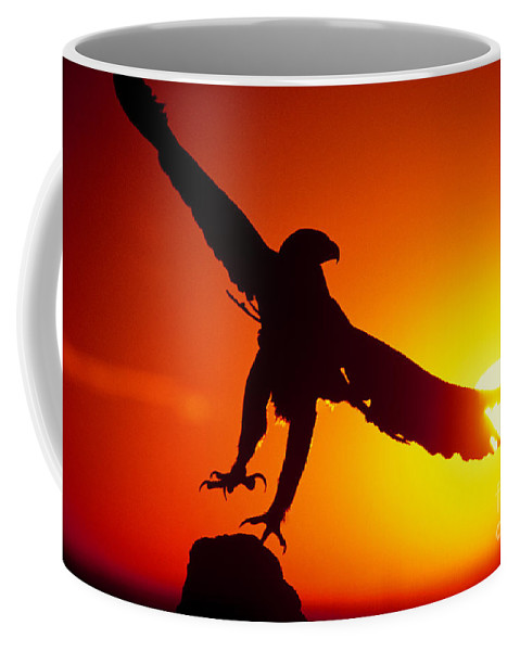 Golden Eagle Coffee Mug featuring the photograph Sunrise Liftoff Golden Eagle Threatened Species by Dave Welling