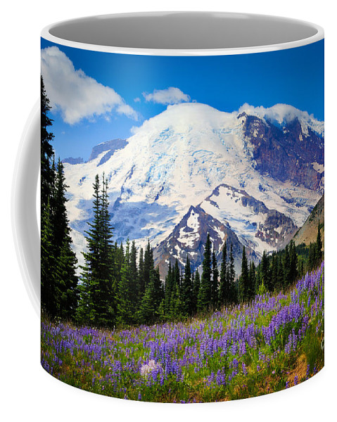 America Coffee Mug featuring the photograph Sunrise Lupines by Inge Johnsson