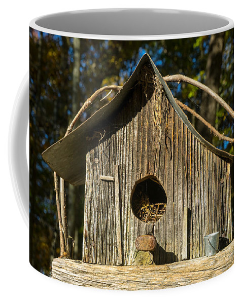 Birdhouse Coffee Mug featuring the photograph Sunrise On Birdhouse Homestead by Douglas Barnett