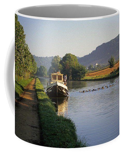 Landscape; Burgundy; burgundy; France; Hotel Barge; Burgundy Canal; Hotel Barge; Burgundy Countryside; Burgundy; France; Landscape Burgundy France; france; Burgundy; Boat; Ship; Canal Boat; Boating; Boating In France; Countryside; Pastoral; Quiet; Serene; Peaceful; Recreation; Fun; Excitement; Travel Coffee Mug featuring the photograph Sunrise On The Burgundy Canal by Buddy Mays