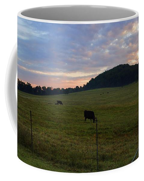 Cows Coffee Mug featuring the photograph Sunrise Over Farm by Sharon Popek
