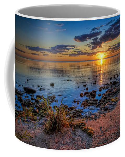 Sun Coffee Mug featuring the photograph Sunrise Over Lake Michigan by Scott Norris