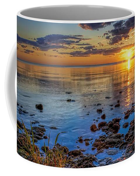 Sun Coffee Mug featuring the photograph Sunrise over Lake Michigan by Scott Norris