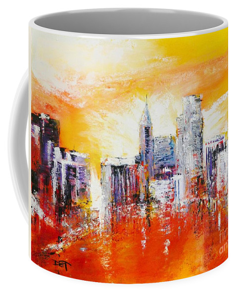 Raleigh Coffee Mug featuring the painting Sunrise Over The City Of Oaks by Dan Campbell