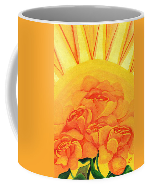 Roses Coffee Mug featuring the painting Sunrise Roses by Catt Kyriacou