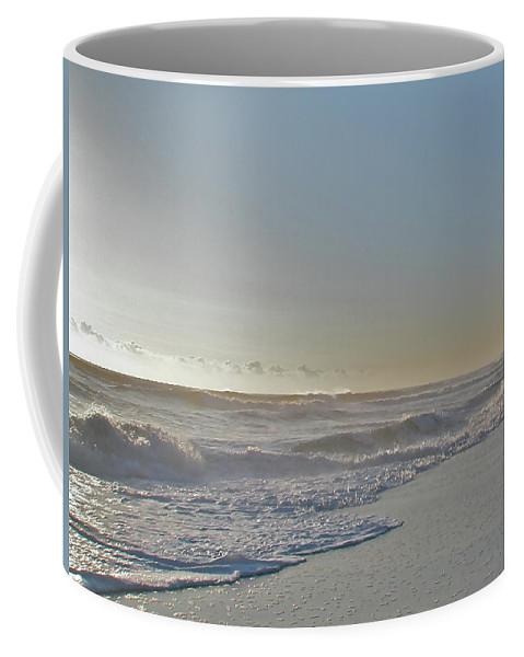 Sunrise Coffee Mug featuring the photograph Sunrise Surf - Island Beach State Park Nj by Mother Nature
