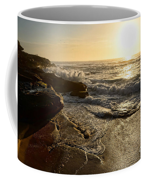 Photography Coffee Mug featuring the photograph Sunrise Waves On The Rocks By Kaye Menner by Kaye Menner