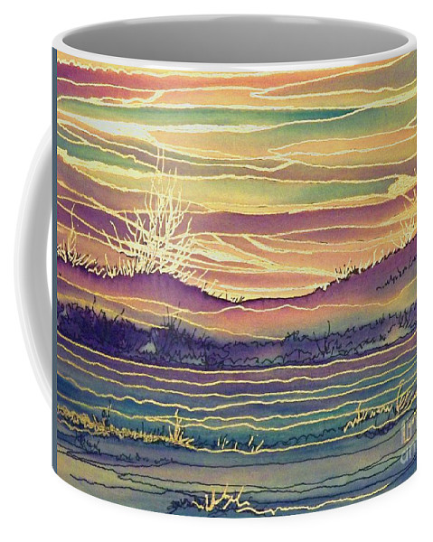 Blue River Coffee Mug featuring the digital art Sunset Across The River by Lorita Montgomery
