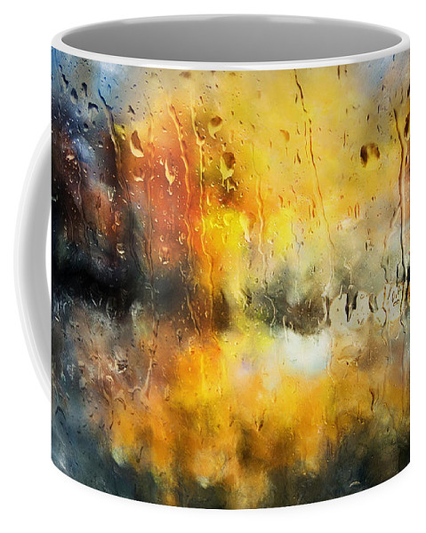 Abstract Art Coffee Mug featuring the mixed media Sunset After The Storm Abstract by Georgiana Romanovna
