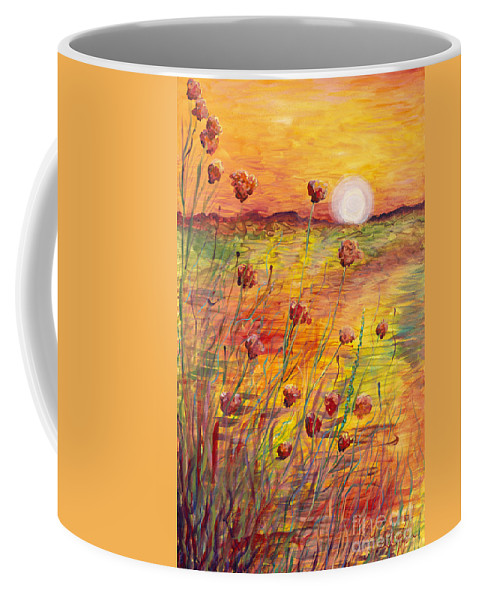 Sunset Coffee Mug featuring the painting Sunset and Poppies by Nadine Rippelmeyer