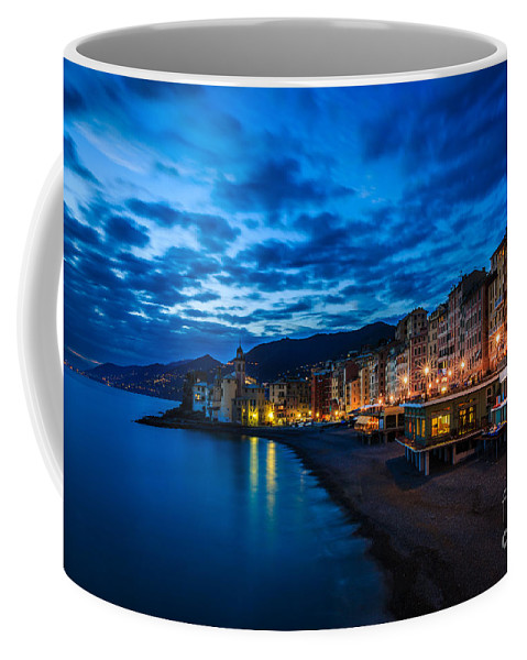 Sunset Coffee Mug featuring the photograph Sunset At Camogli In Liguria - Italy by Kim Petersen