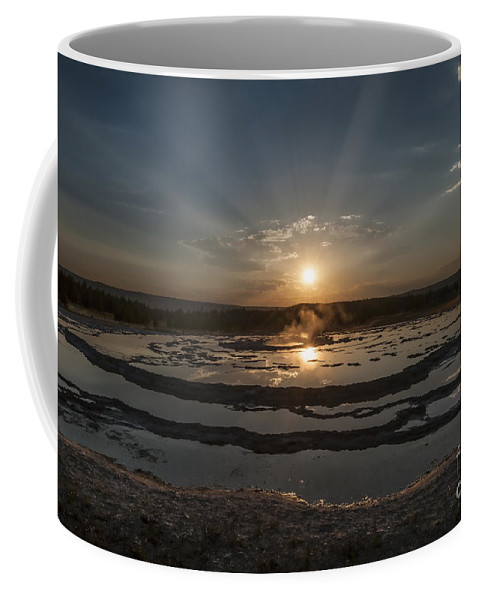 Yellowstone Coffee Mug featuring the photograph Sunset At Great Fountain Geyser - Yellowstone by Sandra Bronstein