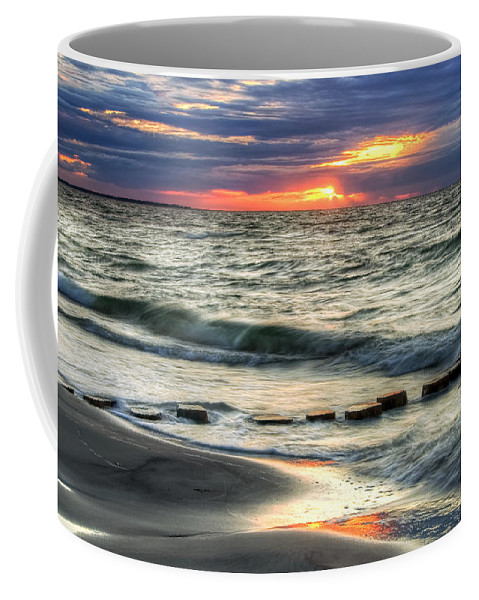 Coffee Mug featuring the pyrography Sunset Beach by Steffen Gierok