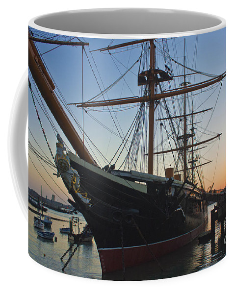 Hms Warrior Coffee Mug featuring the photograph Sunset Behind Hms Warrior by Terri Waters
