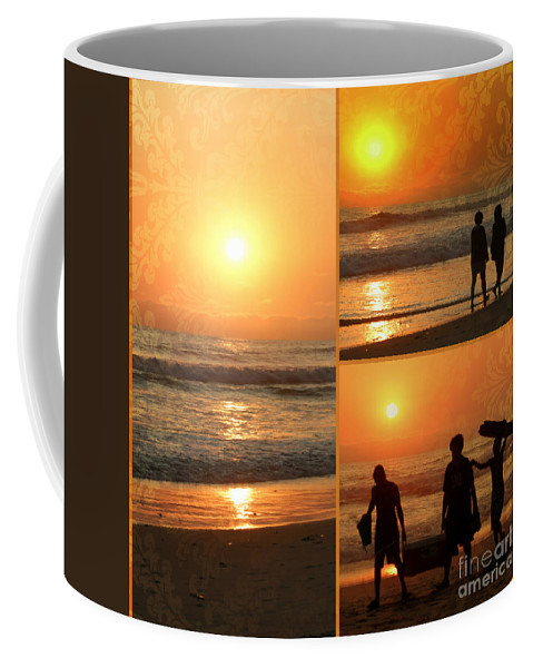 Collage Coffee Mug featuring the photograph Sunset - Orange Beach Collage by Kip Krause