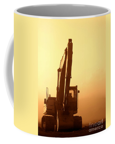 Excavator Coffee Mug featuring the photograph Sunset Excavator by Olivier Le Queinec