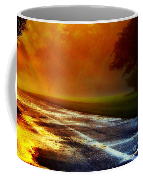 Sunset Coffee Mug featuring the photograph Sunset Glint In The Mist by Tami Quigley