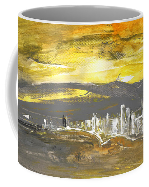 Landscapes Coffee Mug featuring the painting Sunset In Benidorm by Miki De Goodaboom